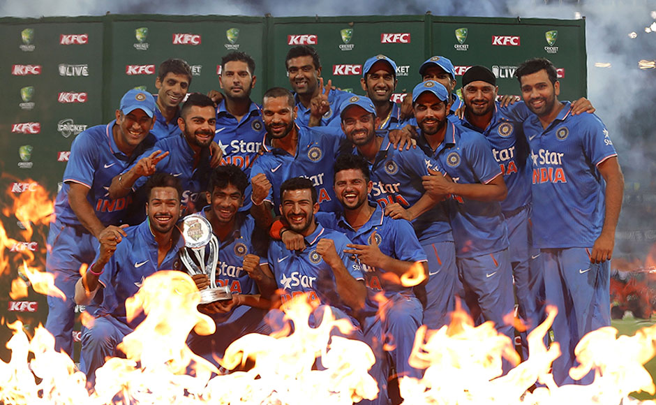 Team India with the trophy after historic 3-0 T20I series win. Getty