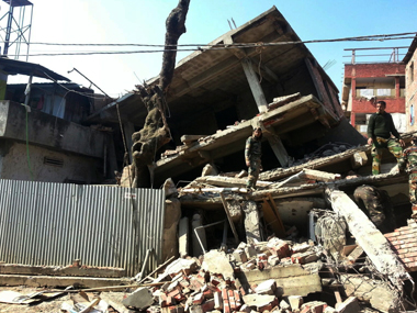A building collapse following the Manipur earthquake. AP