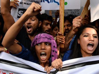 Students protest at FTII in a file photo. AFP