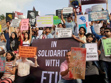 FTI students protesting on Thursday. PTI