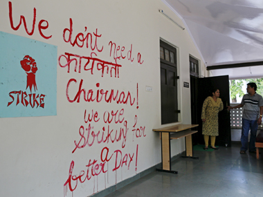 A protest slogan on the FTII campus. Reuters
