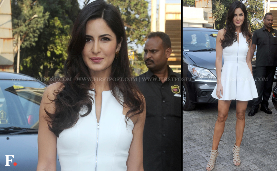 Katrina Kaif opts for a casual summer look with her short white dress at the launch of the first look of her latest movie, Fitoor. It is her first release after Phantom. Sachin Gokhale/Firstpost