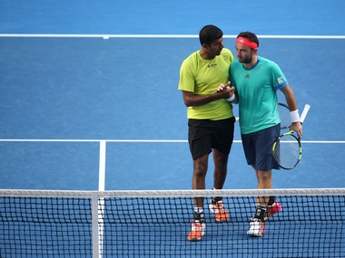 Rohan Bopanna and Florin Mergea at Australian Open. Getty