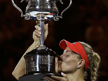 Angelique Kerber with the Australian Open trophy. Getty Images