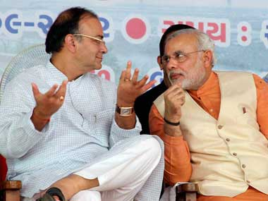 Union Finance Minister Arun Jaitley with PM Narendra Modi. PTI