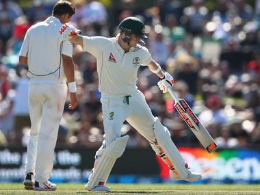 Steve Smith celebrates his century vs New Zealand. Getty Images