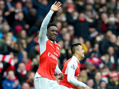 Welbeck headed in a heart-stopping 95th-minute winner to give Arsenal a last-gasp 2-1 win over leaders Leicester City. Getty Images