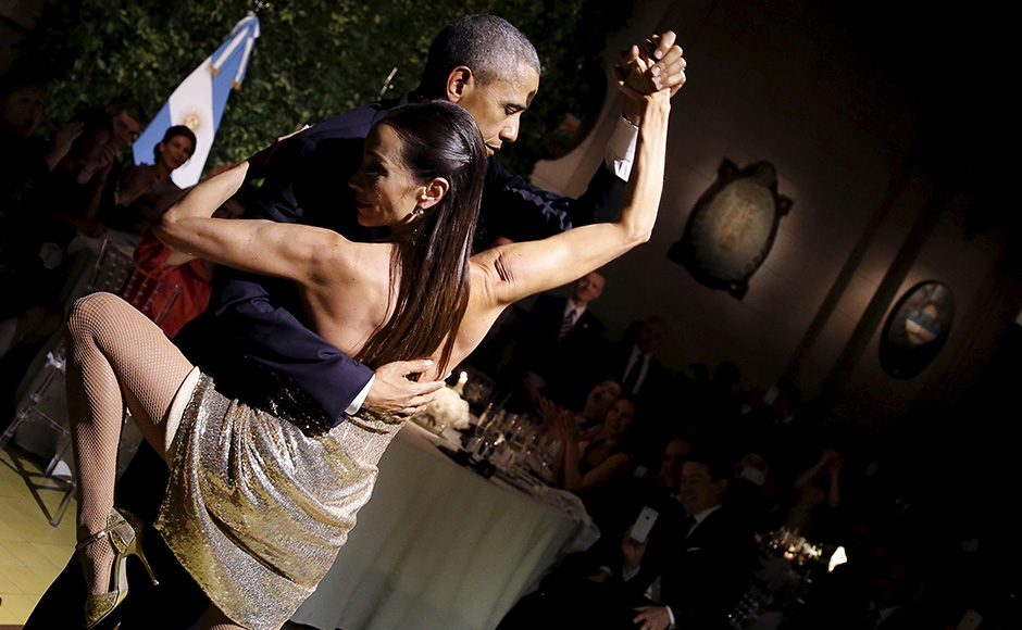 US President Barack Obama can now add dancing the tango to his list of talents. First Lady Michelle Obama too joined the dance floor at end of the state dinner by Argentina's President Mauricio Macri. Reuters