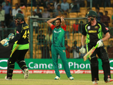 Bangladesh's Shakib Al Hasan rues a missed chance during the World T20 match against Australia at the M Chinnaswamy Stadium in Bengaluru on Monday. Solaris Images