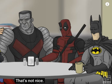 You know you have to watch a video with Deadpool and Batman in it. Screenshot from YouTube video