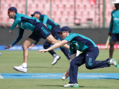 England players undergo a practice session at the Ferozshah Kotla in Delhi on Wednesday. Solaris Images