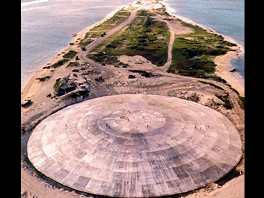 This file photo taken by the US Defense Nuclear Agency in 1980 shows the huge dome, which had just been completed over top of a crater left by one of 43 nuclear blasts, expected to last 25,000 years, capping off radioactive debris from nuclear tests over Runit Island in Enewetak in the Marshall Islands. AFP