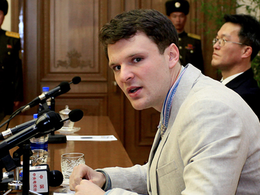 Otto Warmbier during the trial in North Korea. AP