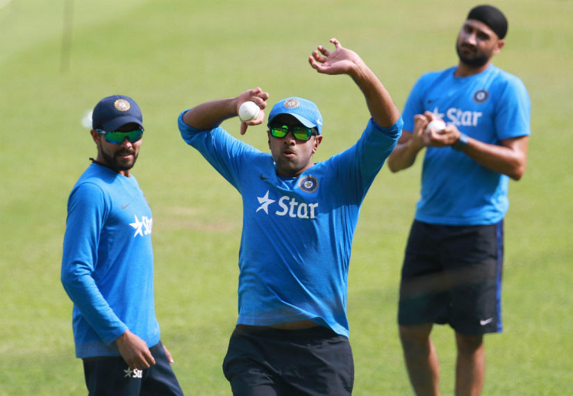 Ravindra Jadeja (left), R Ashwin (centre) and Harbhajan Singh during a practice session in Mohali on Sunday. Solaris Images