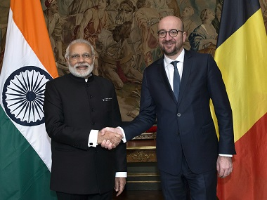 Prime Minister Narendra Modi and Belgian Prime Minister Charles Michel in Brussels. AFP
