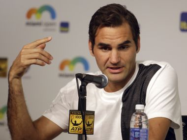 Roger Federer at a news conference at the Miami Open. AP