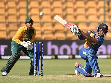 Sri Lanka's Chamari Athapaththuin action during their World T20 match against South Africa. PTI