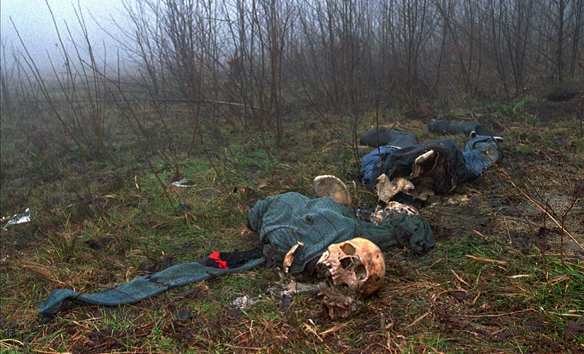 A file photo of skeletal remains of victims of the 1995 massacre at Srebrenica. AP