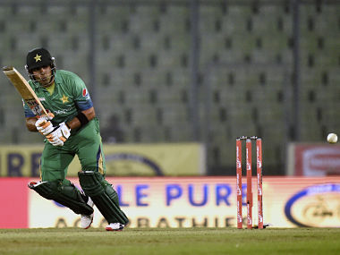 Umar Akmal in action against Sri Lanka. AFP