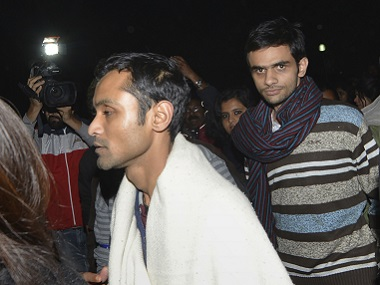 Umar Khalid and Anirban Bhattacharya. File photo. AFP