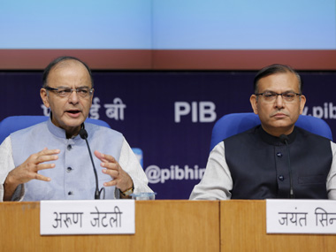 Arun Jaitley and Junior Finance Minister Jayant Sinha. Reuters