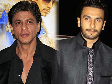 Ranveer Singh (R) shows his 'fandom' for Shah Rukh Khan in the video. Images from IBN, Getty
