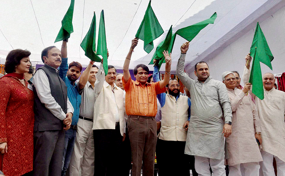 New Delhi: Railways Minister Suresh Prabhu with others flag off the India's first semi-high speed train Gatimaan Express in New Delhi on Tuesday - PTI