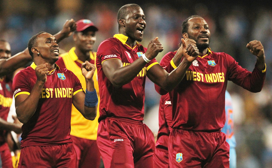 The West Indians celebrate after pulling off a seven-wicket win over India to book a spot in the final of the World T20 against England. AP