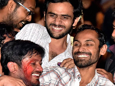 A file photo of JNU students Umar Khalid, Anirban Bhattacharya and Kanhaiya Kumar. PTI