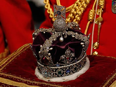 The Kohinoor diamond in the Queen's crown. Getty Images.