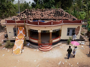 A view of a damaged building after the Kollam fire. PTI
