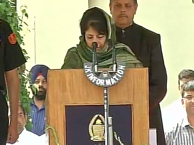Mehbooba Mufti takes oath as Jammu and Kashmir Chief Minister. ANI
