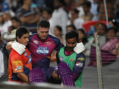 Kevin Pietersen of RPS helped off the field after injuring his leg during a match against RCB. BCCI