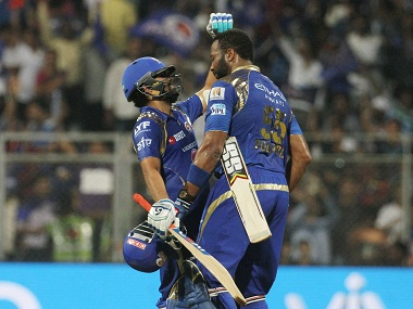 Mumbai Indians captain Rohit Sharma and Kieron Pollard after beating Kolkata Knight Riders. BCCI