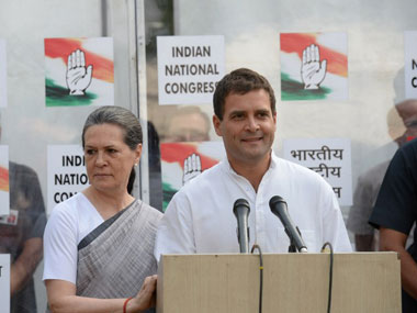 Congress president Sonia Gandhi (left) with party vice-president Rahul Gandhi. AFP