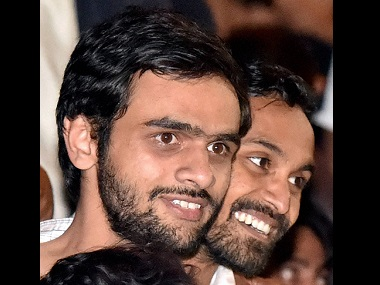 JNU students Umar Khalid (left) and Anirban Bhattacharya. PTI