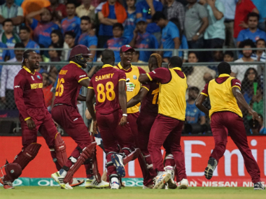West Indies team members celebrating after win over India in 2016 World T20 semi-final. Solaris