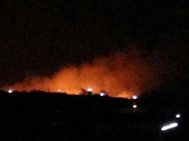 A screengrab of the fire which broke out in Pulgaon CAD late on Monday night. Courtesy: CNN-News18