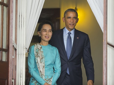 File photo of Aung San Suu Kyi and Barack Obama. AP