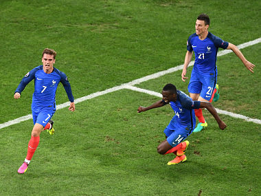 Antoine Griezmann celebrates after scoring against Albania. AFP