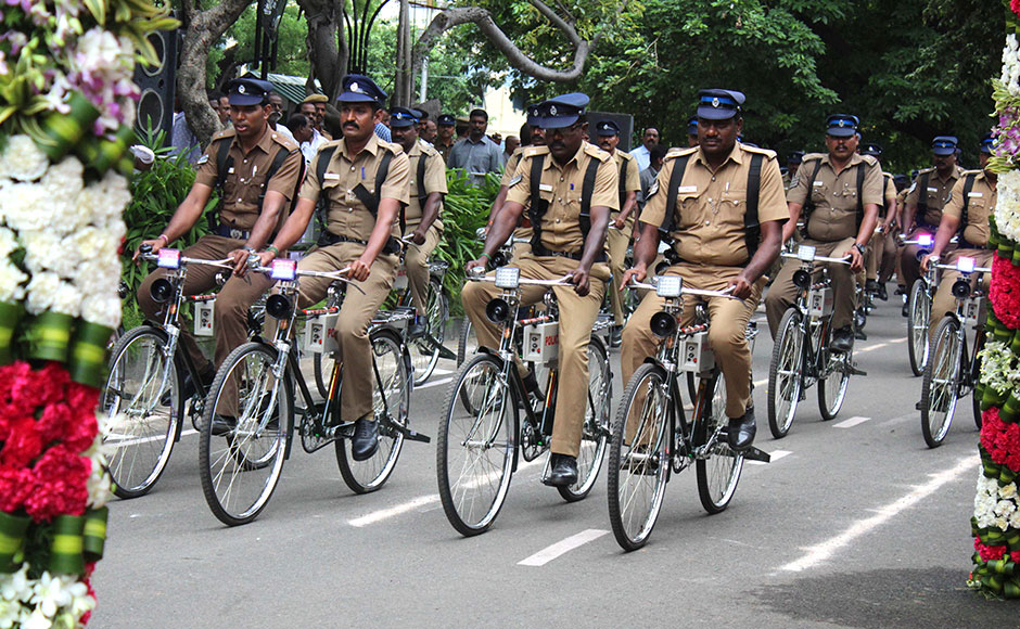 Tamil Nadu Chief Minister J Jayalalithaa flagged off 100 motorcycles and 250 bicycle for Improve patrolling , in Chennai, India on June 30, 2016. (SOLARIS IMAGES)