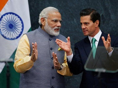 Prime Minister Narendra Modi speaks with Mexican President Enrique Pena Nieto. Mexico is supporting India's bid for NSG membership. Reuters