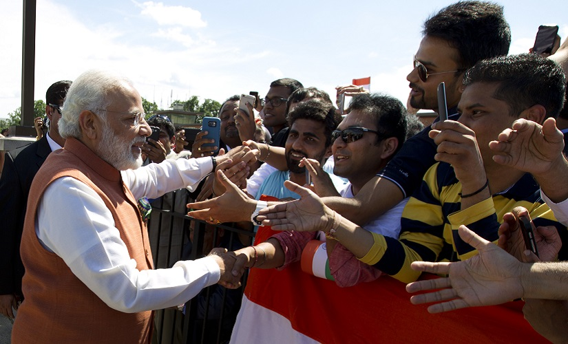 Prime Minister Narendra Modi shakes hands with members of the indian community in Washington upon his arrival at Andrews Air Force Base. AP