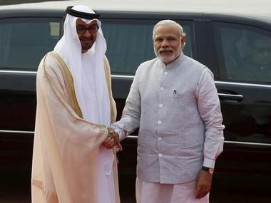 A file photo of UAE's Crowned Prince Sheikh Mohammed bin Zayed al-Nahyan (L) with PM Modi during his India visit. The two nations are engaging to boost bilateral ties. Reuters
