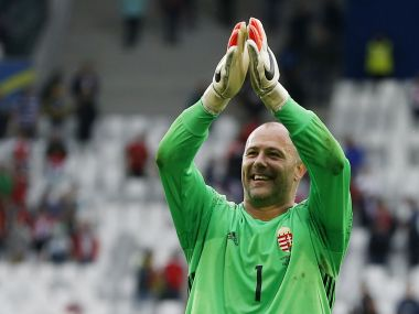 Hungary's Gabor Kiraly celebrates after the game. Reuters