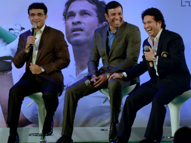 (From left to right): Sourav Ganguly, VVS Laxman and Sachin Tendulkar. AFP