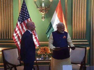 Jeff Bezos with PM Narendra Modi. Image: Twitter