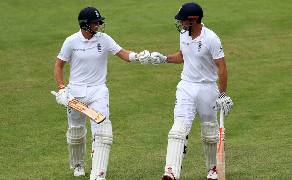 Joe Root (left) and captain Alastair Cook shared an unbeaten 105-run 2nd wicket stand to set a 565-run target for Pakistan. AP