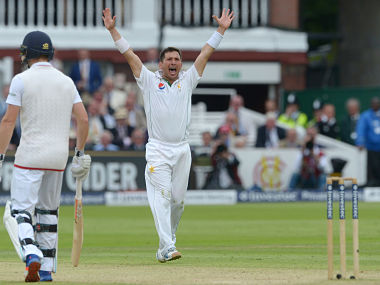 Pakistan's Yashir Shah celebrates as he scalps his fifth wicket. AP