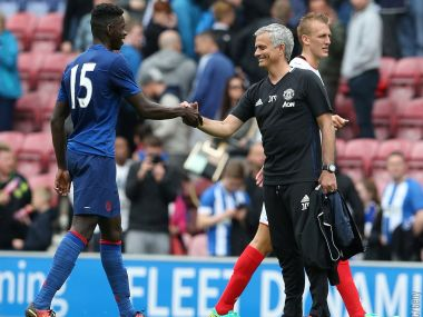 A happy Jose Mourinho after his opening win as Manchester United manager. Image courtesy: Twitter/@manutd